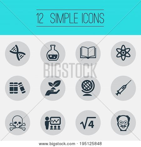 Vector Illustration Set Of Simple Knowledge Icons. Elements Library, Square Root, Toxic Substance And Other Synonyms Professor, Environment And Toxic.