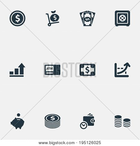 Vector Illustration Set Of Simple Money Icons. Elements Wallet, Secure Box, Banknote And Other Synonyms Interest, Finance And Wealth.