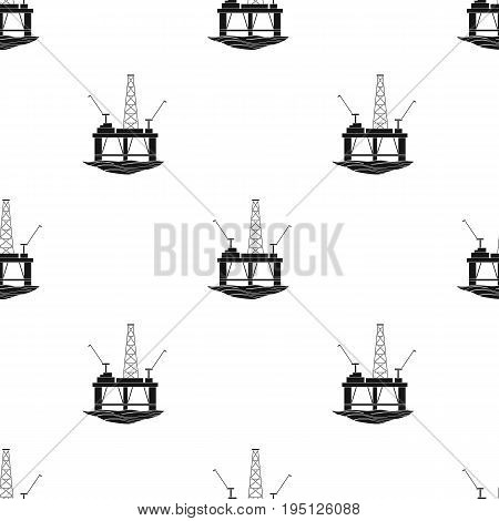 Oil rig on the water.Oil single icon in black style vector symbol stock illustration .