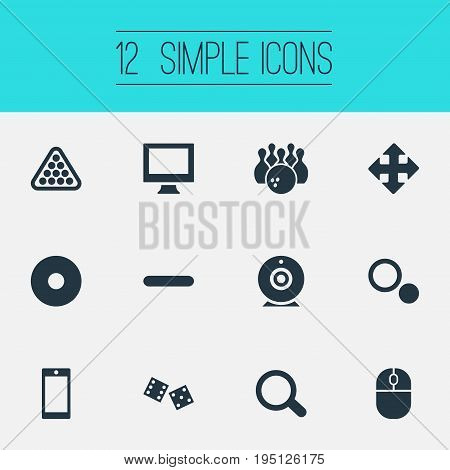 Vector Illustration Set Of Simple Play Icons. Elements Gambling, Kegling, Zoom And Other Synonyms Signpost, Mouse And Gambling.