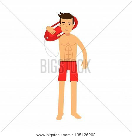 Lifeguard man character on duty standing and holding life preserver buoy on his shoulder vector Illustration isolated on a white background