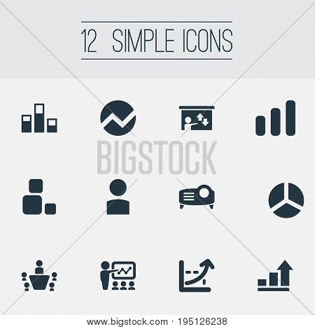 Vector Illustration Set Of Simple Training Icons. Elements Projecting Device, Presentation, Analytics And Other Synonyms Avatar, Profile And Demonstration.