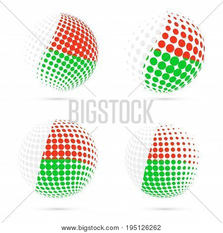 Madagascar Halftone Flag Set Patriotic Vector Design. 3D Halftone Sphere In Madagascar National Flag