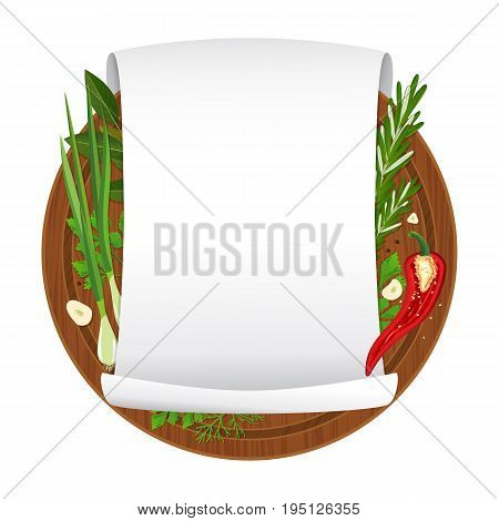 Vector illustration. Wooden cutting board with spices and empty curled blank paper sheet isolated on white background. Parchment scroll. Banner template. Cartoon style
