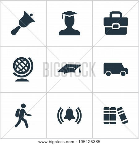 Vector Illustration Set Of Simple Knowledge Icons. Elements Student, Bell, Break And Other Synonyms Globe, Cap And Pedagogue.