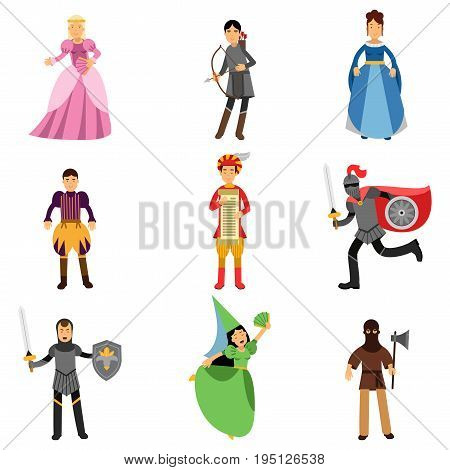Medieval characters set, people in the historical costumes of medieval Europe vector Illustrations isolated on white background