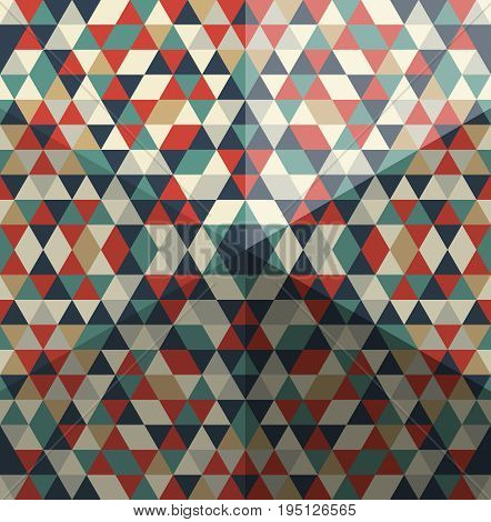 Whimsical pattern of triangular polygons with hexagonal pyramid effect.