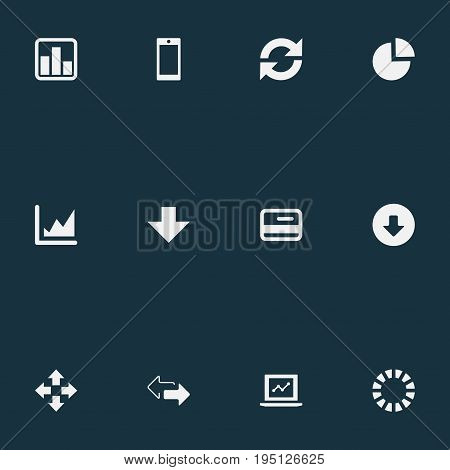 Vector Illustration Set Of Simple Analysis Icons. Elements Download, Plastic Money, Circular Diagram And Other Synonyms Card, Reload And Extend.
