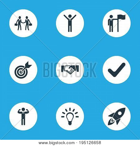 Vector Illustration Set Of Simple Champion Icons. Elements Target, Handshaking Partners, Victory Synonyms Strong, Idea And Attainment.