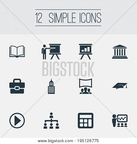 Vector Illustration Set Of Simple Training Icons. Elements Presentation, Demonstration, University And Other Synonyms Hierarchy, Seminar And Internet.