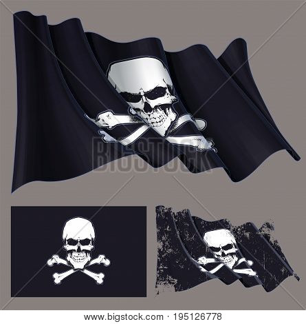 Vector illustration of the waving pirate flag skull and crossbones. Each element on a separate layer with well-defined groups and subgroups. Easy to edit colors via Global Color
