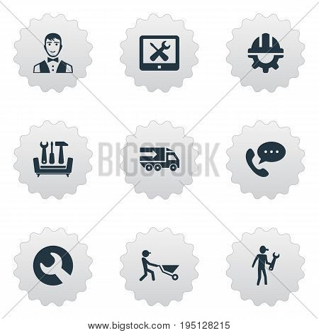Vector Illustration Set Of Simple Help Icons. Elements Tools, Assistance, Restaurant  Staff And Other Synonyms Safety, Support And Help.