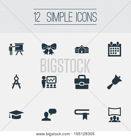 Vector Illustration Set Of Simple School Icons. Elements Lecture, Christmas Ornaments, Devider And Other Synonyms Publicity, Lesson And Architect.