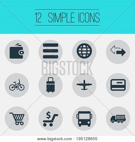 Vector Illustration Set Of Simple Distribution Icons. Elements Velocipede, Opposite Directions, Trip Luggage And Other Synonyms Cart, Earth And Bus.