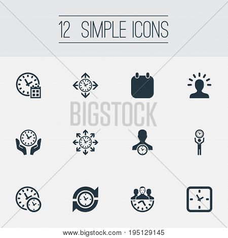Vector Illustration Set Of Simple Time Icons. Elements Repetition, Saving, Time Management And Other Synonyms Timer, Arrows And Compatibility.