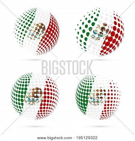 Mexico Halftone Flag Set Patriotic Vector Design. 3D Halftone Sphere In Mexico National Flag Colors