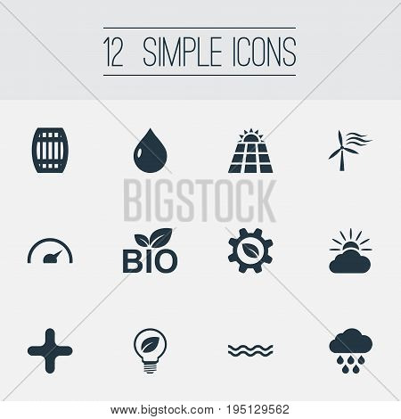 Vector Illustration Set Of Simple Energy Icons. Elements Safe Lightbulb, Naval, Tachometr And Other Synonyms Forecast, Cask And Battery.