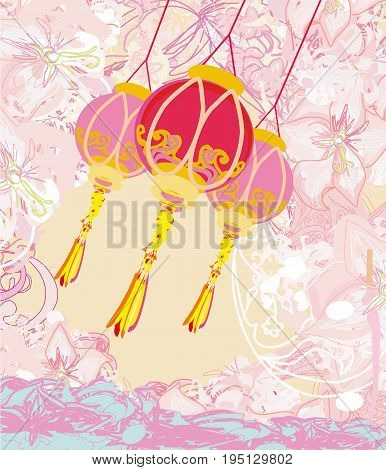 Chinese New Year with lanterns card , vector illustration