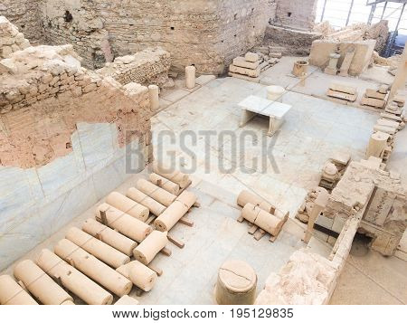Roman stone columns and altar ruins room from top roof in ephesus Archaeological site in turkey