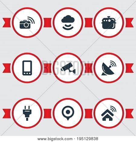 Vector Illustration Set Of Simple Web Icons. Elements Pin, Storage Acceess, Photography And Other Synonyms Mobile, Oven And Location.
