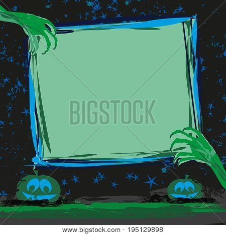 Zombie hands coming out of grave frame , vector illustration