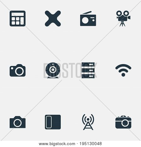 Vector Illustration Set Of Simple Hardware Icons. Elements Remove, Hardware, Videochat And Other Synonyms Server, Station And Speaker.