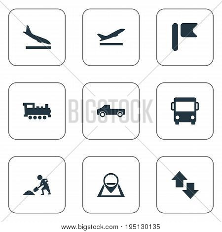 Vector Illustration Set Of Simple City Icons. Elements Retro Locomotive, Airport, City Bus And Other Synonyms Banner, Train And Flag.