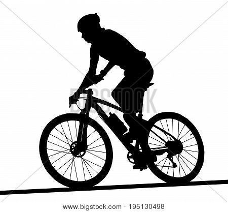 Side Profile Silhouette Of Male Mountain Bike Racer