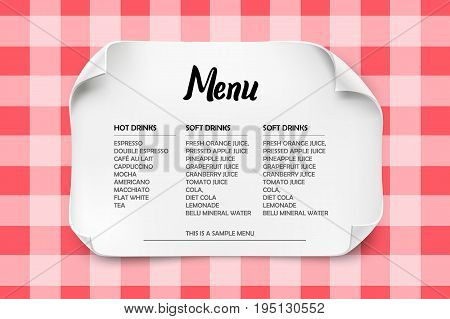 Cafe or Restaurant menu design with curved paper on a tablecloth