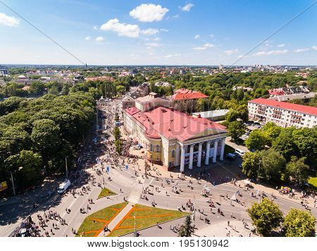 Kaliningrad Russia - July 09 2017: Bird-eye view of the crowd of people on a pedestrian streets during the city day of Kaliningrad