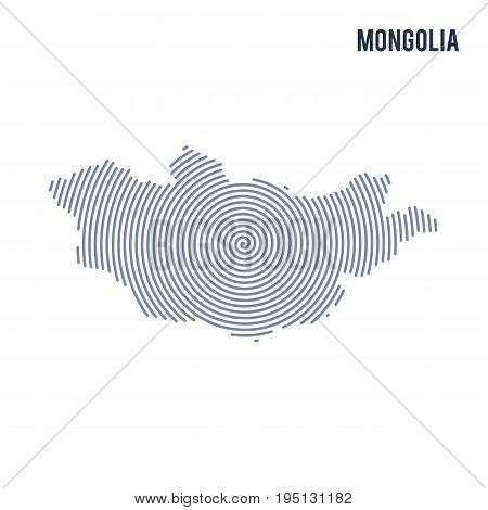 Vector Abstract Hatched Map Of Mongolia With Spiral Lines Isolated On A White Background.