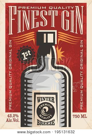 Finest gin retro poster ad with gin bottle on old paper texture. Promotional banner for one of the most popular beverages. Vector art illustration.