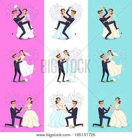 Set. Happy Couple Celebrating Marriage, Dancing, Kissing, Hugging, Holding Each Other In Arms, Cut C