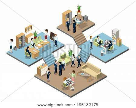 Business center with people at work in offices. Vector isometric illustration. Interior of office with business people man and woman