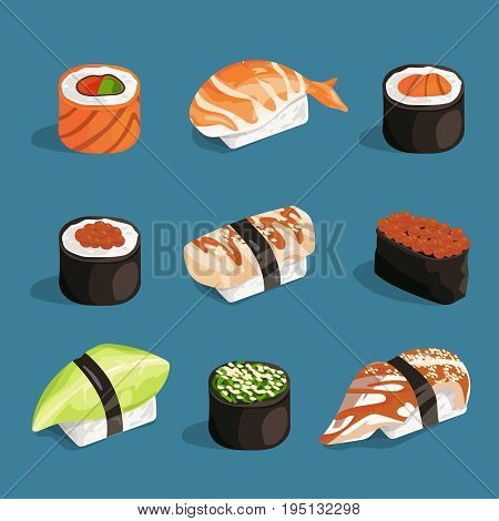 Set of classical asian food. White rice, sushi, salmon nori and different rolls. Vector pictures in cartoon style asian food roll sashimi, unagi and nori japanese illustration