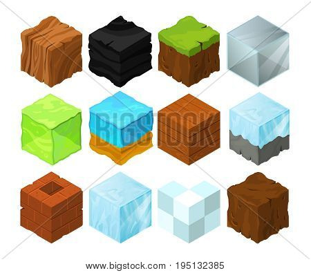 Cartoon texture illustration on different isometric blocks for game design. Isometric block sea and wood, cubical glass and coal