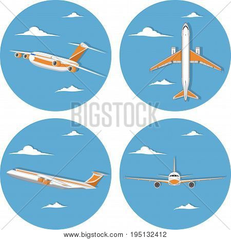 Aviation icon set with jet airplane in sky. Commercial air shipment, fast freight delivery, global transportation. Worldwide tourist and business flights, low cost airline labels vector illustration.