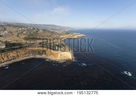 Aerial view Vincent Point in the Rancho Palos Verdes area of Los Angeles County, California.
