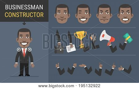 Constructor character businessman african american. Vector illustration. Mascot character.
