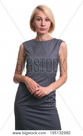 Beautiful Mid Aged Surprised Woman In Dress. Isolated