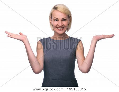 Mid Age Woman Gesturing With Hands And Showing Balance