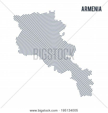 Vector Abstract Hatched Map Of Armenia With Spiral Lines Isolated On A White Background.