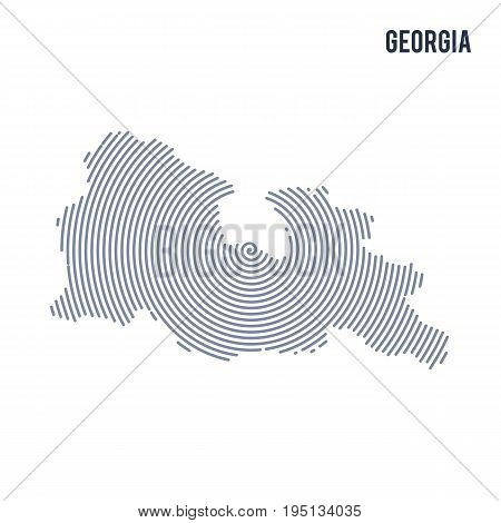 Vector Abstract Hatched Map Of Georgia With Spiral Lines Isolated On A White Background.
