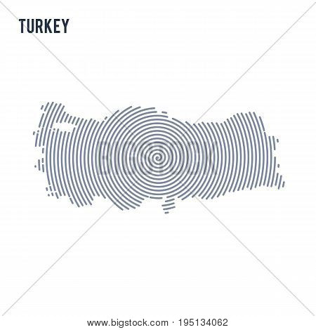 Vector Abstract Hatched Map Of Turkey With Spiral Lines Isolated On A White Background.