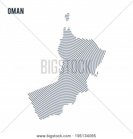 Vector Abstract Hatched Map Of Oman With Spiral Lines Isolated On A White Background.