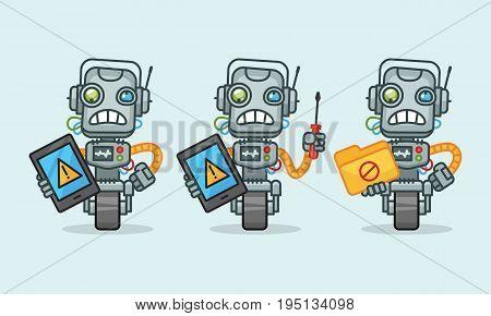 Three variants robot character holding tablet screwdriver folder. Vector illustration. Mascot character.