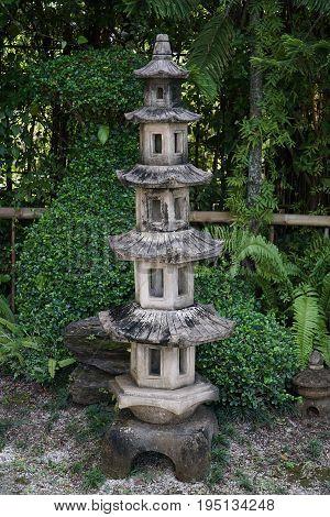 Old Tall Stone Lantern at Japanese Garden