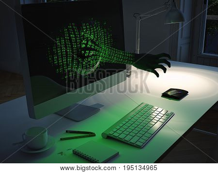 3d rendering. hacker tries to get creditcard data.