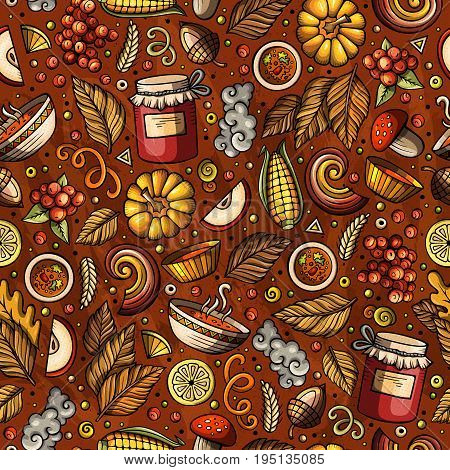 Cartoon cute hand drawn Autumn seamless pattern. Colorful detailed, with lots of objects background. Endless funny vector illustration. Bright colors fall backdrop.