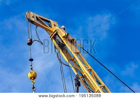 Boom crane wait for lifting in the production platform Energy and petroleum industry sea offshore